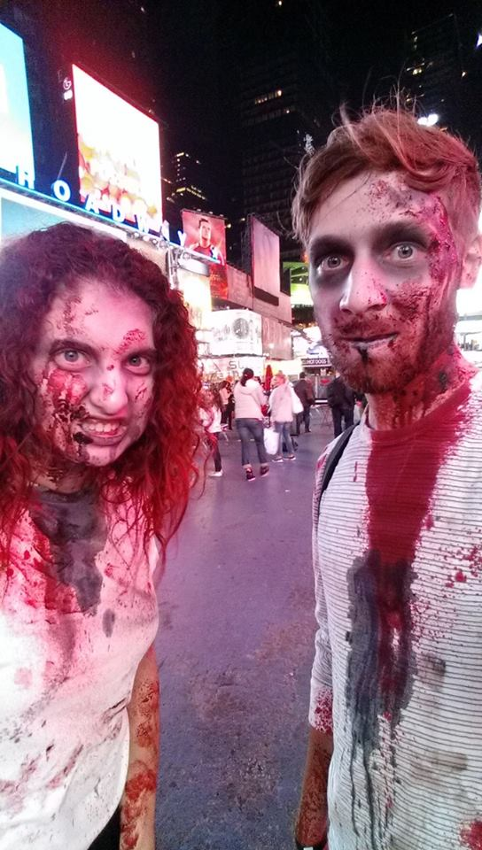 After the event, the only logical thing to do was head to Times Square in the zombie makeup. We got some funny looks, and some people asked to take photos of us.