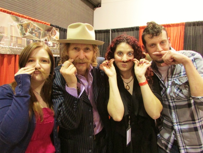 Amber, Lew, me, and Mike- getting our 'stache brigade on.