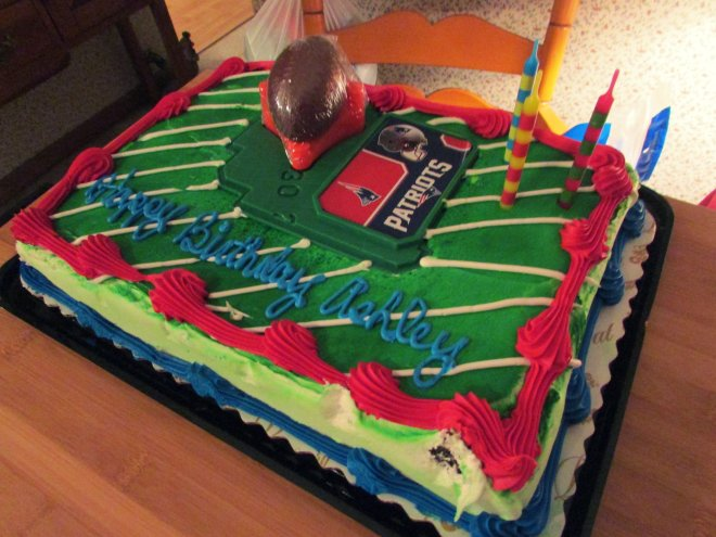 In the spirit of things- my mother also had a Patriots-themed birthday cake made for me as a surprise.